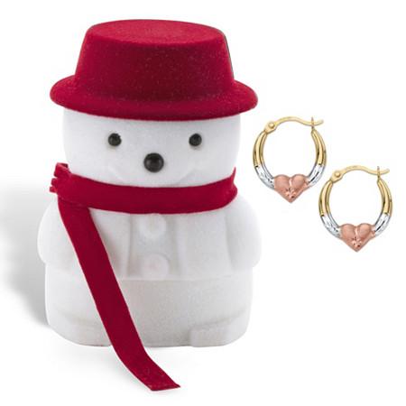 Diamond-Cut Tri-Tone Heart Hoop Earrings in 14k Gold with Free Snowman Gift Box 5/8