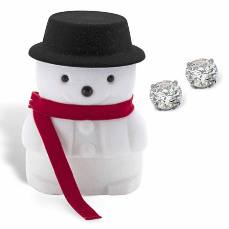 Round Cubic Zirconia Stud Earrings 1.80 TCW in Solid 10k White Gold with Free Snowman Gift Box at PalmBeach Jewelry