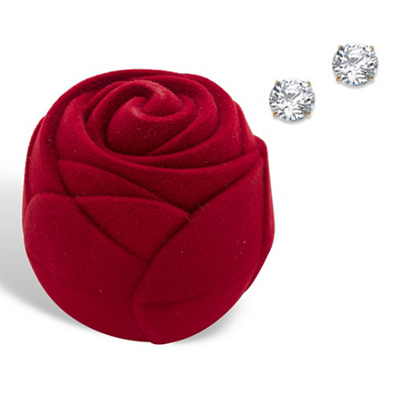 Round Cubic Zirconia Stud Earrings 1.80 TCW in Solid 10k Yellow Gold with Free Red Rose Gift Box at PalmBeach Jewelry