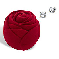 Round Cubic Zirconia Stud Earrings 1.80 TCW in Solid 10k Yellow Gold with Free Red Rose Gift Box