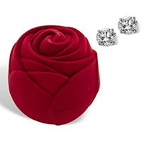 Round Cubic Zirconia Stud Earrings 3 TCW in Solid 10k White Gold with Free Red Rose Gift Box