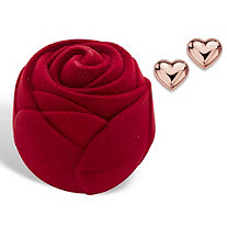 Polished Puffy Heart Stud Earrings in 14k Rose Gold with Free Red Rose Gift Box