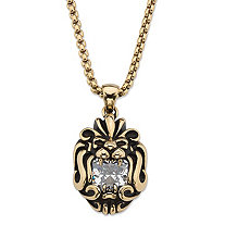SETA JEWELRY Square-Cut Cubic Zirconia Tribal Lion Pendant Necklace 2.65 TCW in Antiqued Gold Ion-Plated Stainless Steel 24