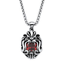 Square-Cut Red Cubic Zirconia Tribal Lion Pendant Necklace 2.65 TCW in Antiqued Stainless Steel 24""
