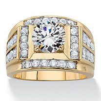 Round Cubic Zirconia Multi-Row Men's Ring 4.38 TCW 14k Yellow Gold-Plated