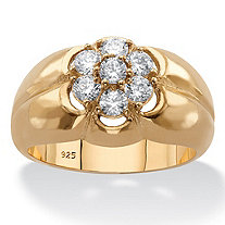Men's Round Cubic Zirconia Flower Ring .88 TCW in 14k Yellow Gold over Sterling Silver