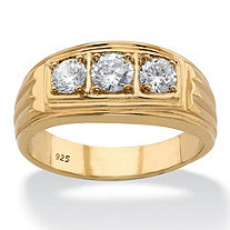 Men's Round Cubic Zirconia 3-Stone Ribbed Ring .96 TCW in 14k Yellow Gold over Sterling Silver