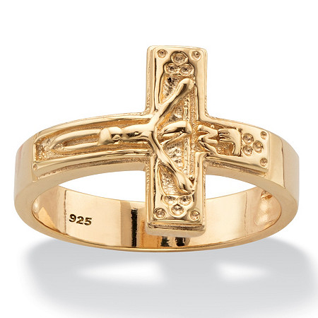 Horizontal Crucifix Cross Ring in 14k Yellow Gold over Sterling Silver at PalmBeach Jewelry