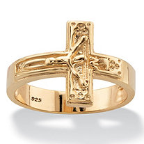 Horizontal Crucifix Cross Ring in 14k Yellow Gold over Sterling Silver