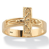 Men's Horizontal Crucifix Cross Men's Ring in 14k Yellow Gold over Sterling Silver