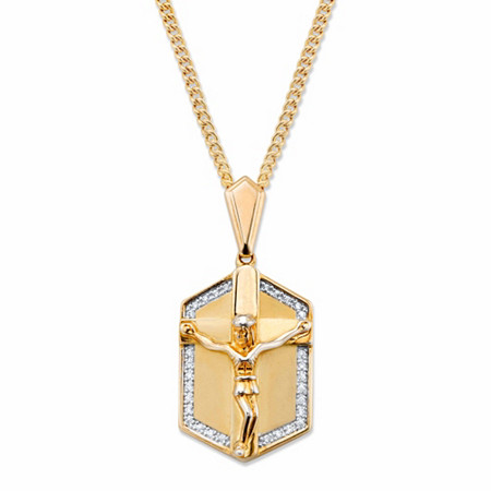 "Men's PavΘ Cubic Zirconia Crucifix Pendant Necklace .15 TCW in 14K Yellow Gold-Plated 22"" at PalmBeach Jewelry"
