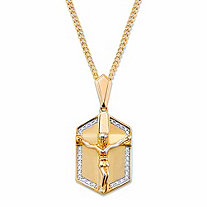 Men's PavΘ Cubic Zirconia Crucifix Pendant Necklace .15 TCW in 14K Yellow Gold-Plated 22