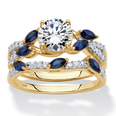 Round Cubic Zirconia and Created Blue Sapphire 2-Piece Vine Wedding Ring Set 2.63 TCW in 18k Gold over Sterling Silver at PalmBeach Jewelry