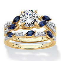 Round Cubic Zirconia and Created Blue Sapphire 2-Piece Vine Wedding Ring Set 2.63 TCW in 18k Gold over Sterling Silver