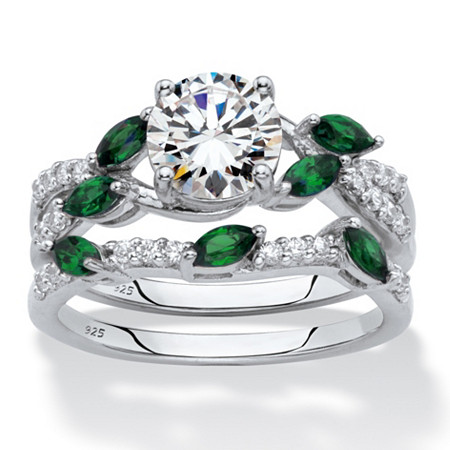 Round Cubic Zirconia and Marquise-Cut Created Emerald 2-Piece Vine Wedding Ring Set 2.35 TCW in Platinum over Sterling Silver at PalmBeach Jewelry