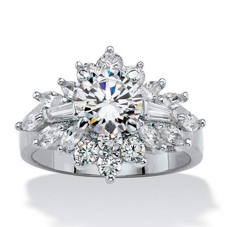 Round and Marquise-Cut Cubic Zirconia Starburst Cluster Cocktail Ring 3.61 TCW Platinum-Plated at PalmBeach Jewelry