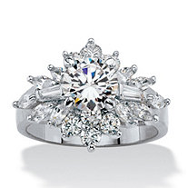 Round and Marquise-Cut Cubic Zirconia Starburst Cluster Cocktail Ring 3.61 TCW Platinum-Plated