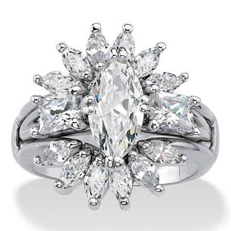 Marquise-Cut Cubic Zirconia Starburst  2-Piece Jacket Wedding Ring Set 4.80 TCW Platinum-Plated at PalmBeach Jewelry
