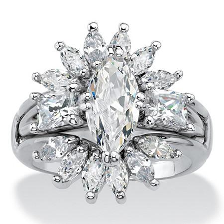 Marquise-Cut Cubic Zirconia Starburst  2-Piece Jacket Wedding Ring Set 4.80 TCW Platinum-Plated at PalmBeach Jewelry