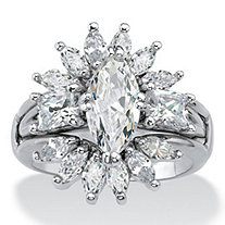 SETA JEWELRY Marquise-Cut Cubic Zirconia Starburst  2-Piece Jacket Wedding Ring Set 4.80 TCW Platinum-Plated