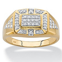 Men's Round Diamond Grid Ring 1/5 TCW in Solid 10k Yellow Gold