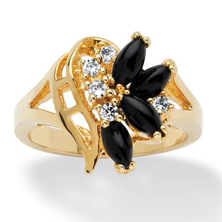 Marquise-Shaped Onyx and Crystal Swirl Ring in Gold-Plated at PalmBeach Jewelry