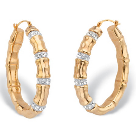 "Round Crystal Bamboo Oval Hoop Earrings in 14k Yellow Gold Nano Diamond Resin-Filled 1 1/2"" at PalmBeach Jewelry"