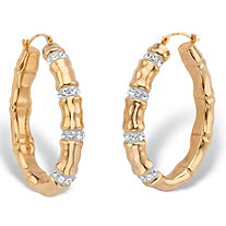 Round Crystal Bamboo Oval Hoop Earrings in 14k Yellow Gold Nano Diamond Resin-Filled 1 1/2
