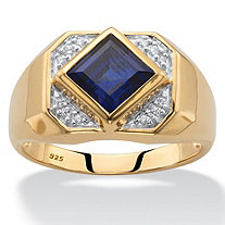 Men's Square-Cut Created Blue Sapphire Octagon Ring 2.20 TCW in 18k Yellow Gold over Sterling Silver