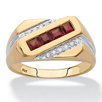 Square-Cut Genuine Red Garnet and Diamond Diagonal Men's Ring .96 TCW in 18k Yellow Gold over Sterling Silver
