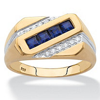Men's Square-Cut Simulated Blue Sapphire and Genuine Diamond Diagonal Ring 1.12 TCW in 18k Yellow Gold over Sterling Silver