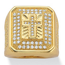 Men's Round Cubic Zirconia Gridded Cross Ring 1 TCW 14k Yellow Gold-Plated
