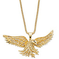 Men's Round Cubic Zirconia Eagle Pendant Necklace 1 TCW 14k Gold-Plated 20""