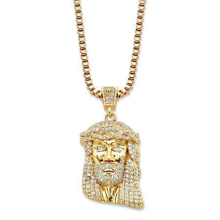 Round Cubic Zirconia Head of Jesus Crown of Thorns Pendant Necklace .50 TCW 14k Gold-Plated 20