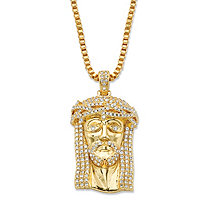 Round Cubic Zirconia Head of Jesus Crown of Thorns Pendant Necklace 1.13 TCW 14k Gold-Plated 20""