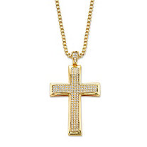 Round Cubic Zirconia Cross Pendant Necklace .65 TCW 14k Gold-Plated 20""
