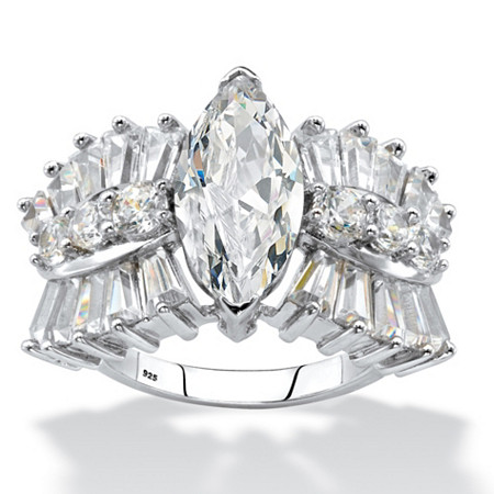 Marquise-Cut Cubic Zirconia Engagement Ring 6.22 TCW in Platinum over Sterling Silver at PalmBeach Jewelry