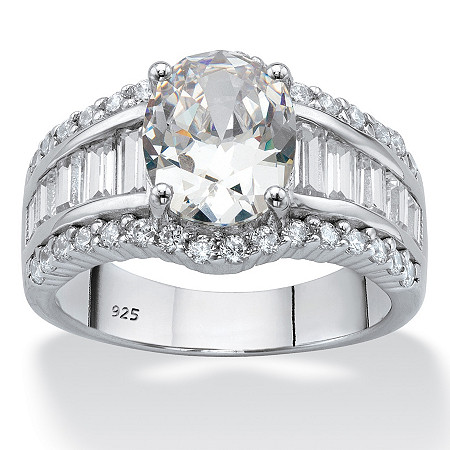 Oval-Cut Cubic Zirconia Engagement Ring 7.73 carats T.W. in Platinum over Sterling Silver at PalmBeach Jewelry