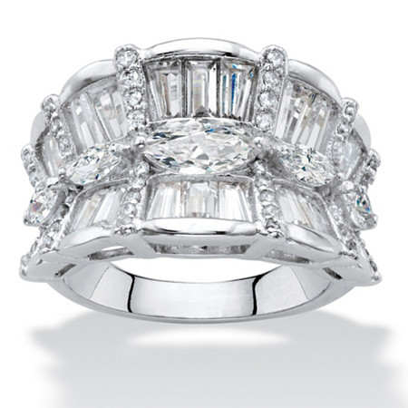 Marquise-Cut Cubic Zirconia Concave Scalloped Cocktail Ring 4.24 TCW Platinum-Plated at PalmBeach Jewelry
