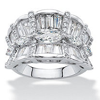 Marquise-Cut Cubic Zirconia Concave Scalloped Cocktail Ring 4.24 TCW Platinum-Plated