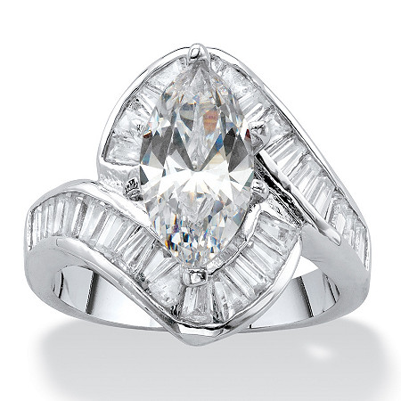 Marquise-Cut Cubic Zirconia Curved Engagement Ring 4.92 TCW Platinum-Plated at PalmBeach Jewelry