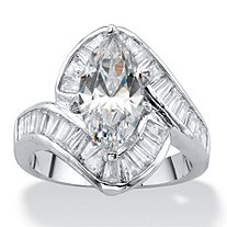 Marquise-Cut Cubic Zirconia Curved Engagement Ring 4.92 TCW Platinum-Plated