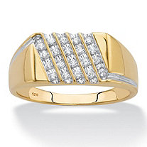 Round Diamond Men's Multi-Row Diagonal Grid Ring 1/5 TCW in Solid 10k Yellow Gold