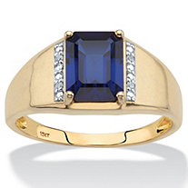 SETA JEWELRY Men's Emerald-Cut Created Blue Sapphire and Diamond Accent Ring 2.30 TCW in Solid 10k Yellow Gold