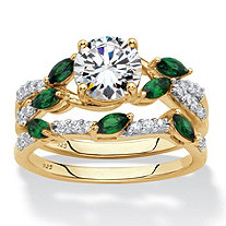 Round Cubic Zirconia and Simulated Emerald 2-Piece Twisted Vine Wedding Set 2.35 TCW in 18k Gold over Sterling Silver
