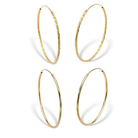 Twisted and Polished 2-Pair Set Eternity Hoop Earrings in 18k Yellow Gold over Sterling Silver (2 1/4