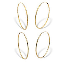 "Twisted and Polished 2-Pair Set Eternity Hoop Earrings in 18k Yellow Gold over Sterling Silver (2 1/4"")"