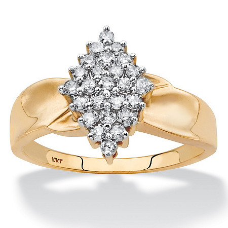 Round Diamond Marquise-Shaped Twisted Band Cluster Ring 3/8 TCW in Solid 10k Yellow Gold at PalmBeach Jewelry