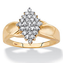 Round Diamond Marquise-Shaped Twisted Band Cluster Ring 3/8 TCW in Solid 10k Yellow Gold