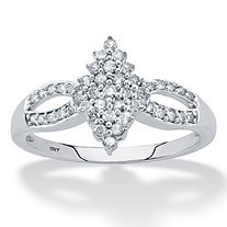 Round Diamond Marquise-Shaped Split-Shank Cluster Ring 1/3 TCW in Solid 10k White Gold